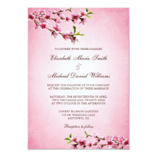 "Pink Cherry Blossoms Vintage Wedding 5"" X 7"" Invitation Card"