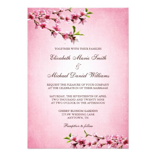 Pink Cherry Blossoms Vintage Wedding Custom Invites