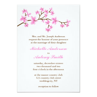 "Pink Cherry Blossoms Wedding 5"" X 7"" Invitation Card"