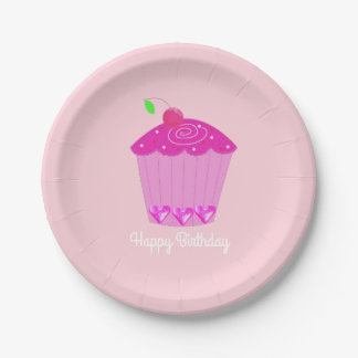 Pink Cherry Cupcake Paper Plate