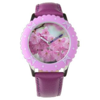 Pink Cherry Sakura Tree Wristwatches