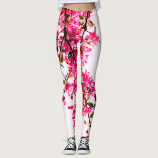 Pink Cherry Tree Flowers Leggings