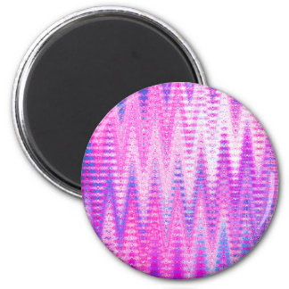 Pink Chevron Abstract Waves Pattern 2 Inch Round Magnet