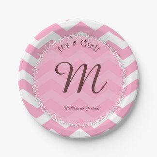 Pink chevron baby shower plates with baby's name