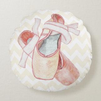 Pink Chevron Ballet Slippers Dancer Round Pillow