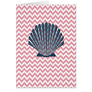 Pink Chevron Blue Seashell Card