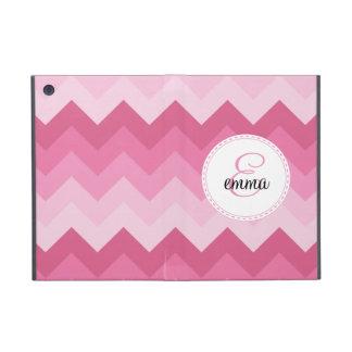 Pink chevron custom monogram cases for iPad mini