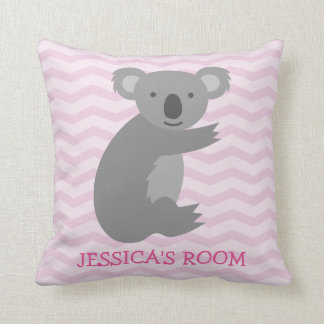 Pink chevron cute grey koala bear nursery pillow