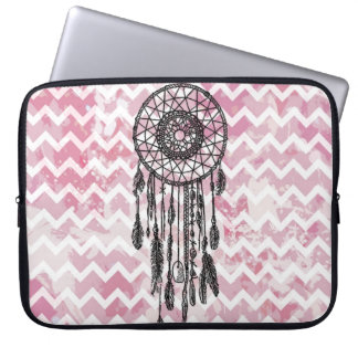 Pink Chevron Dreamcatcher Computer Sleeves