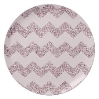 Pink Chevron Faux Glitter Plate