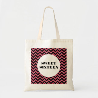 Pink Chevron Glitter Sweet 16 Tote Bag