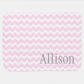 Pink Chevron Grey Custom Name Baby Blanket