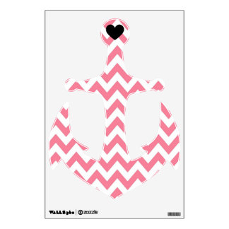 Pink Chevron Heart Anchor Wall Decal