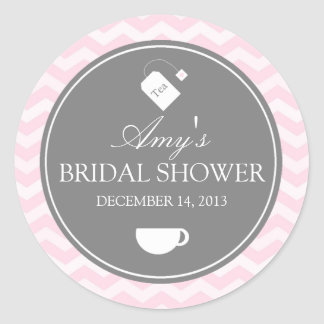 Pink Chevron High Tea Bridal Shower Sticker