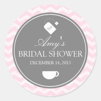 Pink Chevron High Tea Bridal Shower Sticker