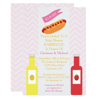 Pink Chevron Hotdog BBQ Baby Shower Invitation