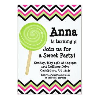 Pink Chevron Lollipop Birthday Party Invitation