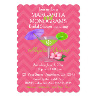 Pink Chevron Margarita Monograms Bridal Shower Card