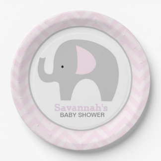 Pink Chevron Mod Elephant Baby Shower Plate 9 Inch Paper Plate