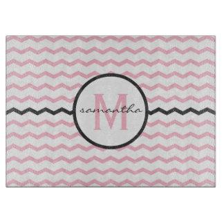 Pink Chevron Monogram Boards
