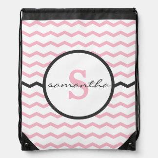 Pink Chevron Monogram Drawstring Bag