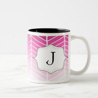 Pink Chevron Monogram Mug Letter J