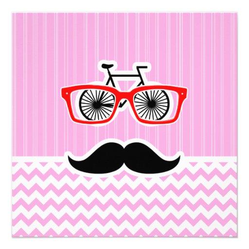 Pink Chevron Mustache; Funny Custom Announcements