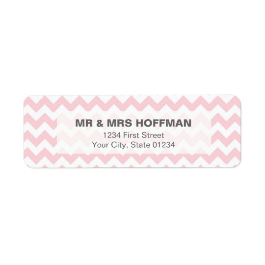 Pink Chevron Pattern Address Label