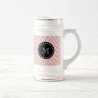 Pink Chevron Pattern | Black Monogram 18 Oz Beer Stein