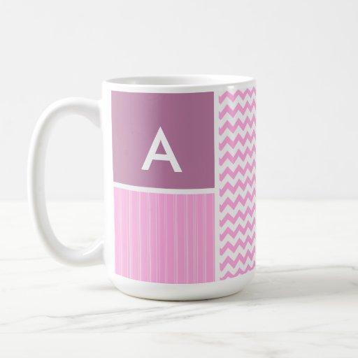 Pink Chevron Pattern Coffee Mugs