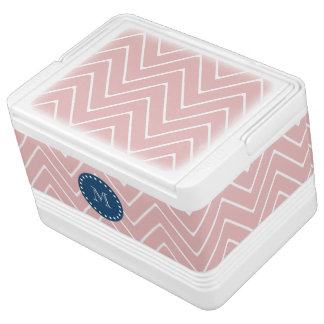 Pink Chevron Pattern | Navy Blue Monogram