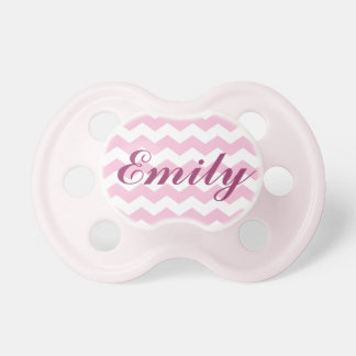 Pink Chevron Pattern Pacifier with Name