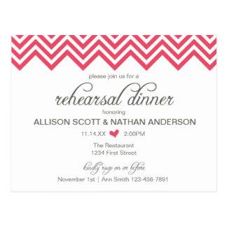 Pink Chevron Rehearsal Dinner Invite Postcard