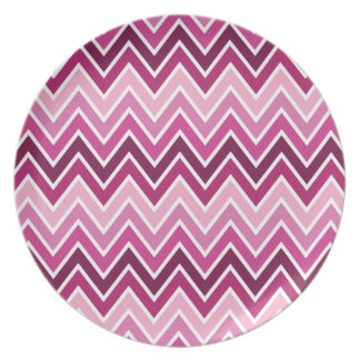 Pink Chevron Stripe Dinner Plates