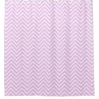 Pink Chevron Striped Shower Curtain