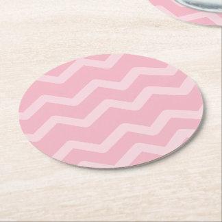 Pink Chevron Stripes Wedding Party, Bridal Shower Round Paper Coaster