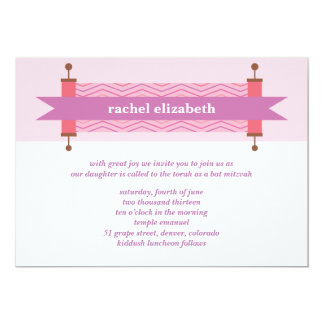 Pink Chevron Torah Bat Mitzvah Invitation