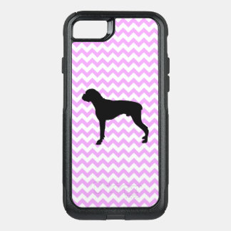 Pink Chevron With Boxer Silhouette OtterBox Commuter iPhone 8/7 Case