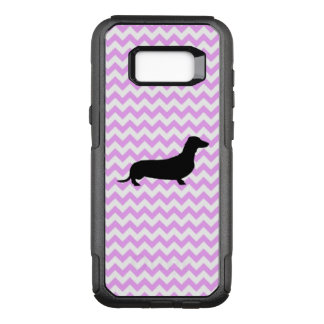 Pink Chevron With Dachshund Silhouette OtterBox Commuter Samsung Galaxy S8+ Case