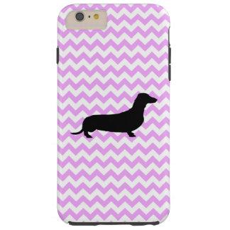 Pink Chevron With Dachshund Tough iPhone 6 Plus Case