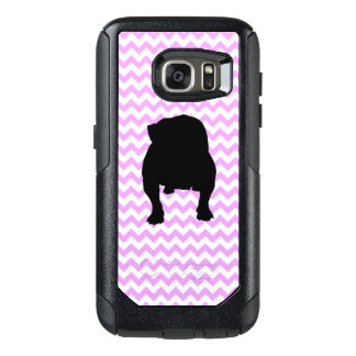 Pink Chevron With English Bulldog OtterBox Samsung Galaxy S7 Case