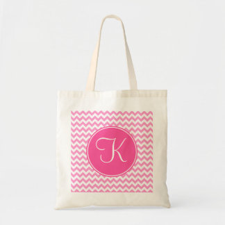 Pink Chevron with Pink Monogram Budget Tote Bag
