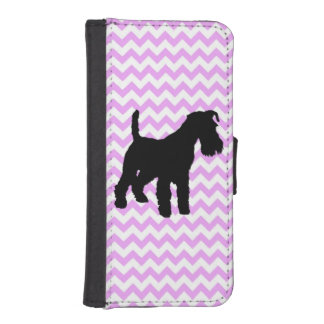 Pink Chevron With Schnauzer iPhone SE/5/5s Wallet Case
