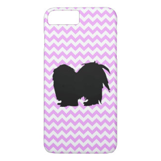 Pink Chevron With Shih Tzu Silhouette iPhone 7 Plus Case