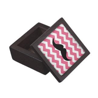 Pink chevron zigzag pattern trinket mustache premium jewelry box