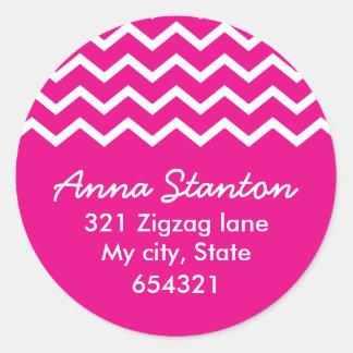 Pink chevron zigzag pattern zig zag address label