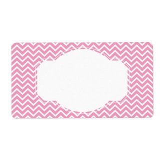 Pink Chevron Zigzag Stripes Shipping Label