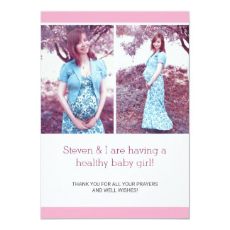 Pink Chic Photo Collage Pregnancy Announcement