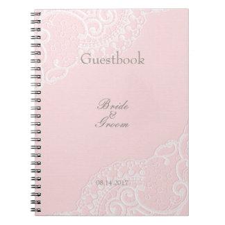 Pink Chic Vintage Elegant Lace Wedding guest book Spiral Note Book