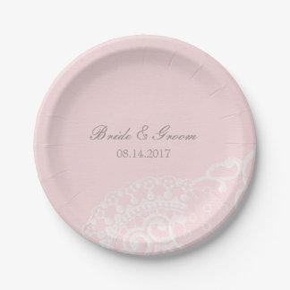Pink Chic Vintage Elegant Lace Wedding Paper Plate